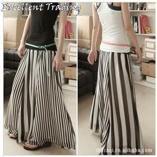 Free Shipping! 2013 new summer chiffon black and white stripes stitching and ankle mopping big skirt skirts maxi skirt-in Skirts from Apparel & Accessories on Aliexpress.com