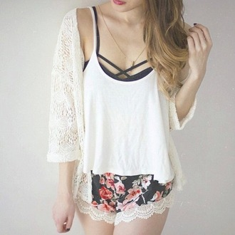 shorts cardigan floral knit
