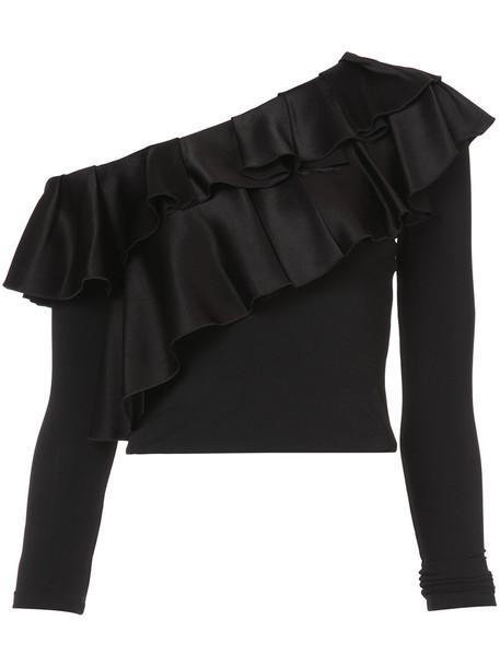 Alice+Olivia blouse women spandex black top