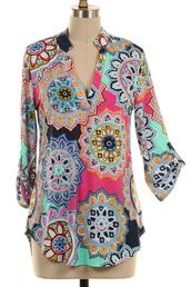 blouse,pink,geo,mint,orange,yellow,roll tab sleeves