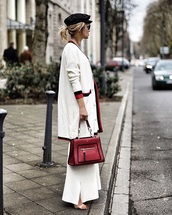 bag,fendi,red bag,white pants,cardigan,white cardigan,handbag,pants,wide-leg pants