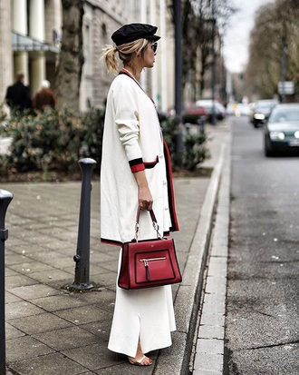 bag fendi red bag white pants cardigan white cardigan handbag pants wide-leg pants