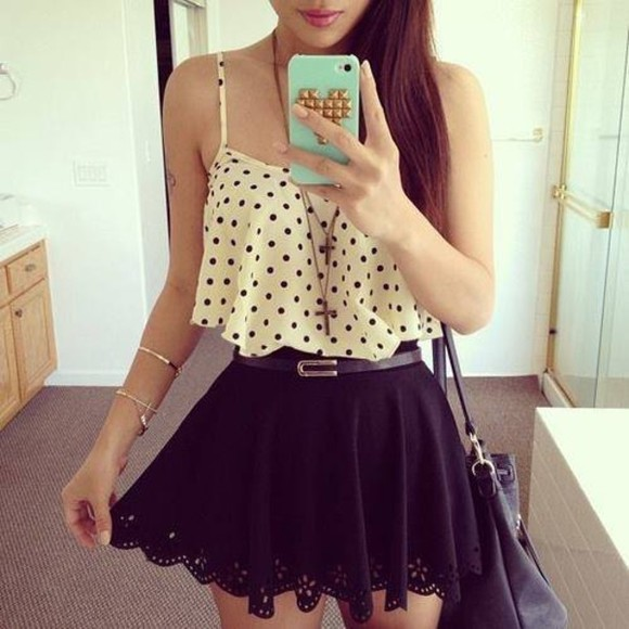 skirt tank top black polka dot shirt cream light pink color tank tops polka dot tank top polka dots belt blouse top lace black dots crop cute bag black skirt