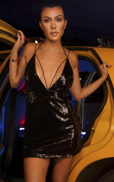 dress mini dress sequins sequin dress black dress kourtney kardashian kardashians party dress