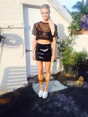 t-shirt,sheer,black,mesh,hipster,grunge,indie,diy,transparent,see through,crop tops,crop,skirt,shoes