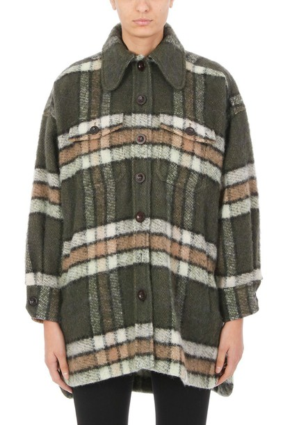 Chloe coat plaid coat mohair plaid green