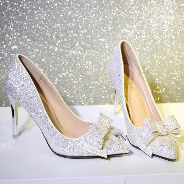 shoes heels high heels glitter glitter heels glitter shoes bow bow heels  bow shoes silver silver