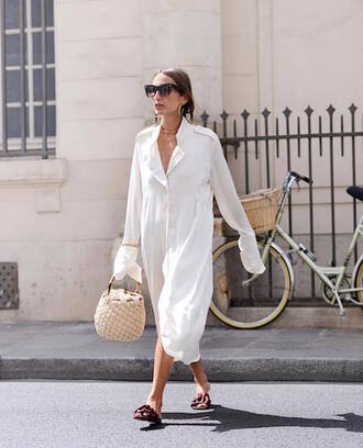 le fashion image blogger sunglasses shirt dress bag shoes basket bag midi dress shirt dress white dress sandals summer outfits