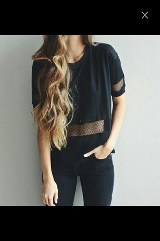 shirt blouse black t-shirt mesh top black t-shirt black crop top black top black sweater style sweater love love it girl shirts girls shirt girl girly blonde hair beautiful