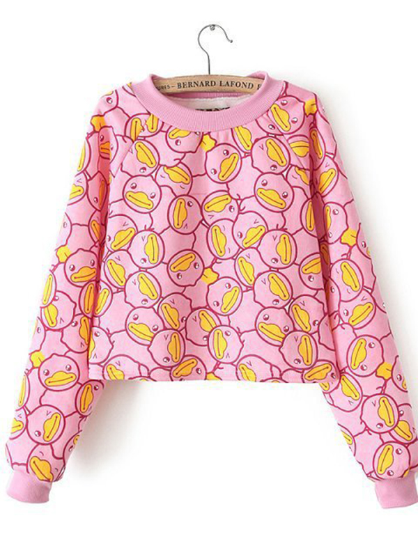 Black/Pink Long Sleeve Print Fashion Sweatshirt : KissChic.com