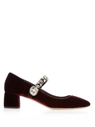 embellished pumps velvet burgundy shoes