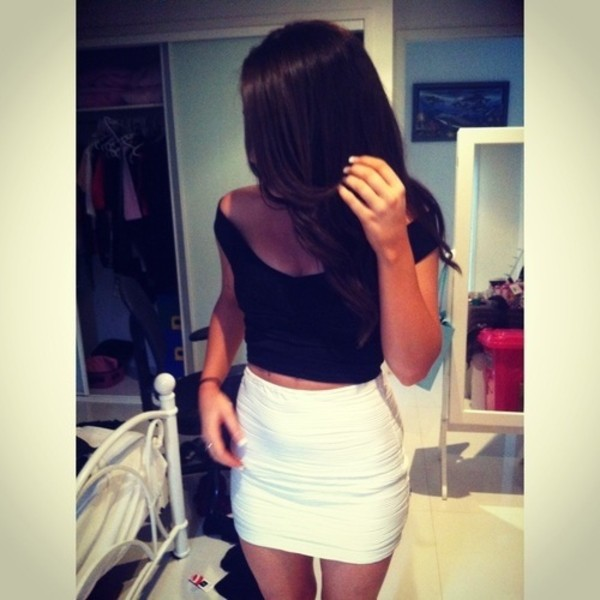 Skirt: white pencil skirt, white skirt, t-shirt, shirt, cropped ...