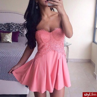 romper lace romper peach peachy pink jumpsuit dress lace bustier bustier dress