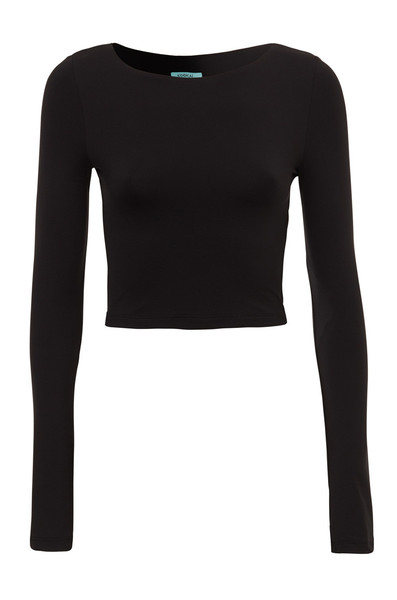 Cropped long sleeve poly top