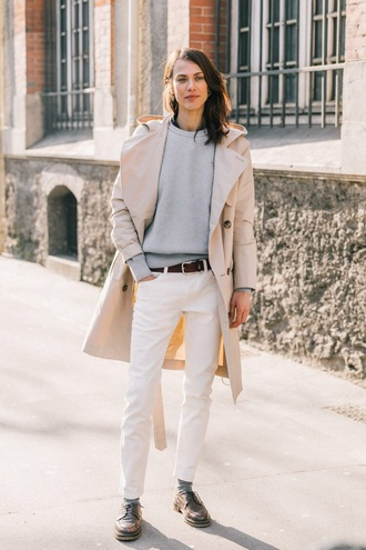 coat white coat sweatshirt grey sweater pants white pants shoes black shoes trench coat
