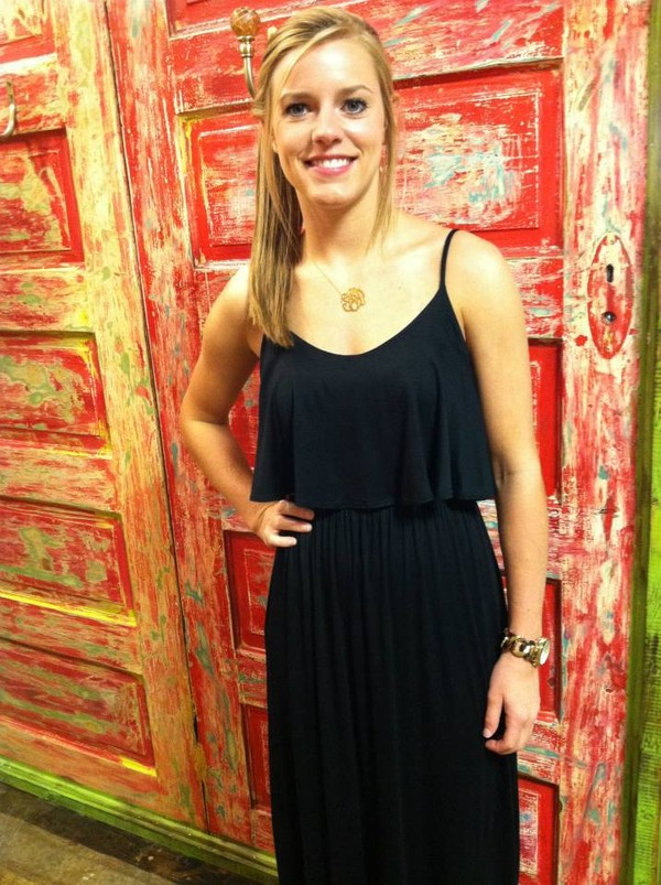 dress black black dress maxi dress monogram necklace ruffle tank maxi floor length dress jewels