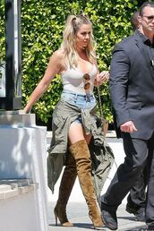 shorts,khloe kardashian,bodysuit,thigh high boots,sunglasses,jacket,denim shorts,bag,top,shoes