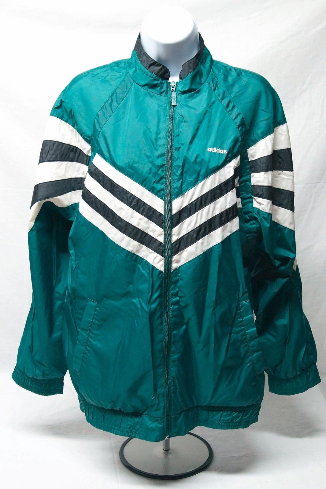 vintage adidas nylon windbreaker green xl ebay. Black Bedroom Furniture Sets. Home Design Ideas