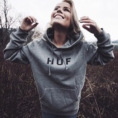 sweater,grey sweater,huf hoodie,hoodie,gray hoodie,grey hoodie,huf,huff sweater,huf sweater