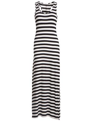 Black and White Stripe Racer Back Maxi Dress