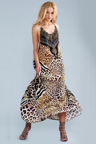 dress luxury parides safari print racerback slip dress bikiniluxe