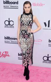dress,gown,hailee steinfeld,billboard music awards,midi dress,see through,see through dress,mesh dress