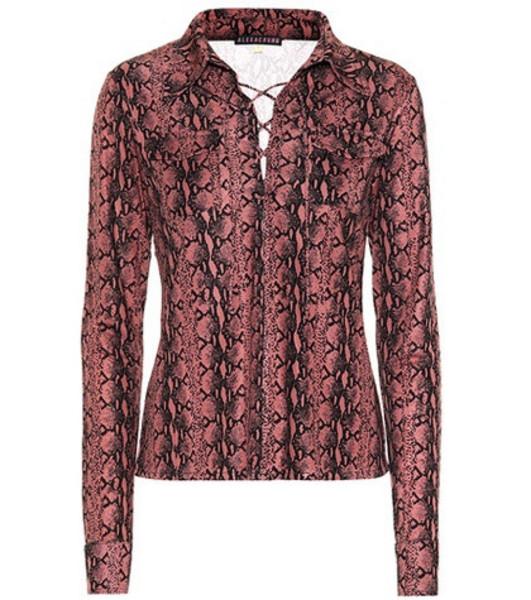 AlexaChung Snake-printed blouse in pink