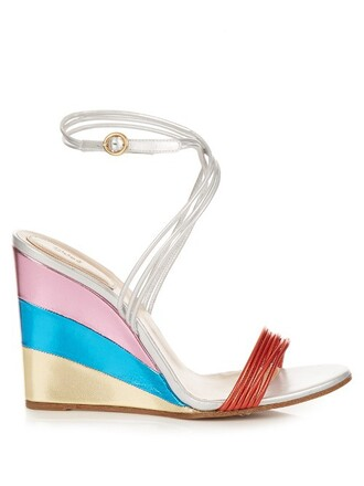 rainbow metallic sandals wedge sandals silver shoes