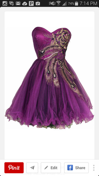 peacock purple dress