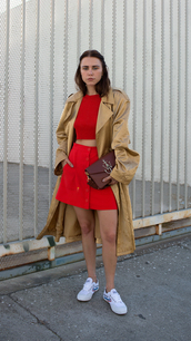 always judging,blogger,coat,top,skirt,bag,shoes,J.W.Anderson bag,mini skirt,red skirt,crop tops,red top,gold coat,gold,J.W. Anderson,JW Anderson bag