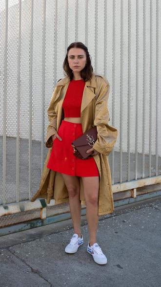 always judging blogger coat top skirt bag shoes j.w.anderson bag mini skirt red skirt crop tops red top gold coat gold j.w. anderson jw anderson bag