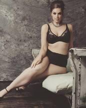 underwear,chloe marshall,model,curvy,plus size,black underwear,black panties,panties,bra,lace bra,black bra,high heel sandals,sandals,black sandals