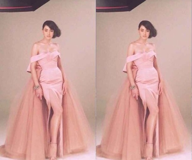 dress, pastel, wedding dress, prom dress, pink dress, slit dress ...