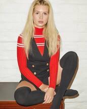 sweater,red,red sweater,black,lottie moss,celebrity,instagram