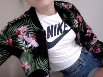 jacket tropical summer bomber jacket nike high waisted shorts skinny cute grunge tumblr tumblr clothes floral palm tree print denim denim shorts shirt