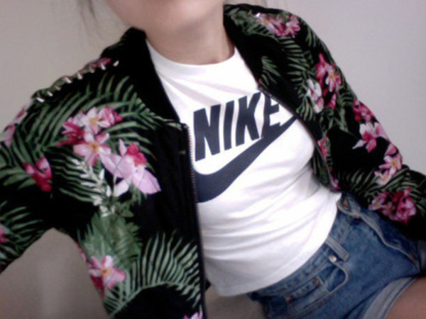 jacket tropical summer bomber jacket nike High waisted shorts skinny cute grunge tumblr tumblr clothes floral palm tree print denim denim shorts shirt