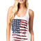 White scoop neck racer back flag print tank top