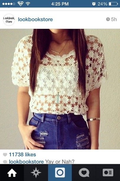 blouse white transparent shirt flowers shorts