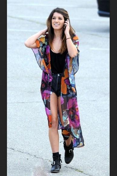 90210 shenae grimes sweater kimono floral