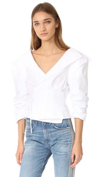 blouse v neck white top