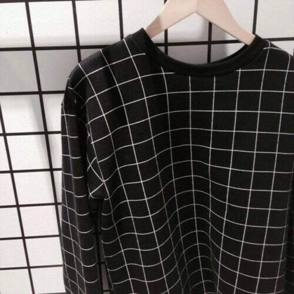 Sweater Black And White Grid Sweatshirt Jacket