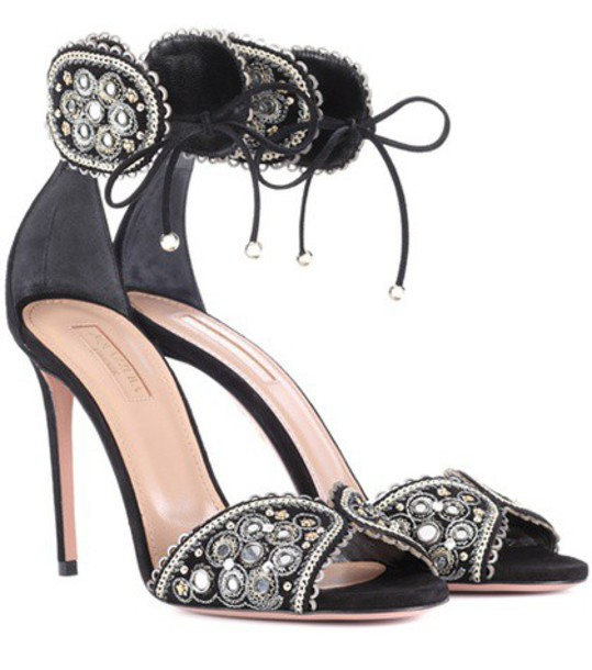 embellished sandals suede black shoes