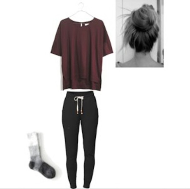 64f1933d8f83 pants socks shirt bun burgundy shirt ootd clothes top sweatpants drawstring  black sweatpants burgundy tumblr clothes