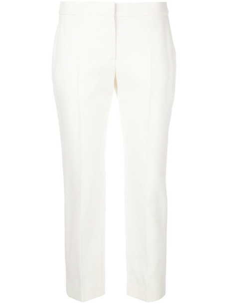 Alexander Mcqueen cropped women white silk wool pants