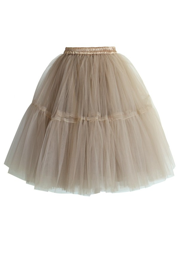 skirt chicwish amore tulle midi skirt caramel