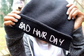hat,badhairday,beanie,bad hair day,black,white letters