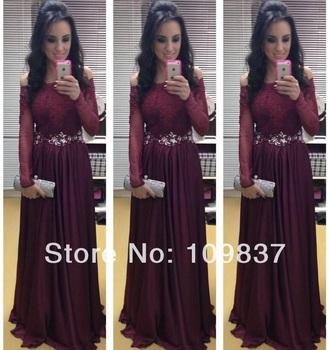 dress burgundy jewels long prom dress long sleeve dress prom dress prom gowns