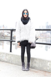 dress like jess,blogger,coat,sweater,jeans,scarf,bag,shoes,sunglasses,make-up,white fur coat,black jeans,fur coat,blue sunglasses,winter outfits,grey boots,white fur jacket