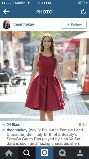 dress burgundy dress korean fashion korean drama korean style