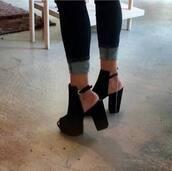 shoes,black,open toes,open heel,chunky heel